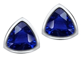 Original Star K™ 7mm Trillion Cut Created Sapphire Earrings Studs style: 307549