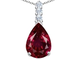 Original Star K Large 14x10mm Pear Shape Created Ruby Pendant