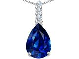 Original Star K Large 14x10mm Pear Shape Created Sapphire Pendant