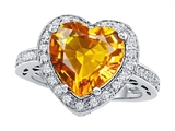 Original Star K Large 10mm Heart Shape Simulated Citrine Engagement Wedding Ring