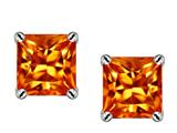 Original Star K Square 7mm Simulated Orange Mexican Fire Opal Earrings