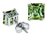 Original Star K™ Square 7mm Simulated Green Tourmaline Earrings