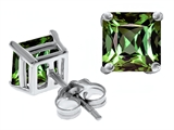 Original Star K Square 7mm Simulated Green Sapphire Earrings