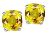Original Star K Cushion Cut 7mm Simulated Yellow Sapphire Earring Studs