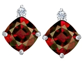 Original Star K 7mm Cushion Cut Genuine Garnet Earring Studs