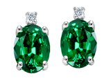 Tommaso Design Oval 8x6mm Simulated Emerald and Genuine Diamonds Earrings