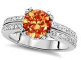 Original Star K Round 7mm Simulated Orange Mexican Fire Opal Engagement Wedding Ring