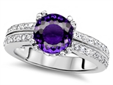 Original Star K™ Round 7mm Genuine Amethyst Engagement Wedding Ring style: 307598