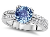 Star K™ Round 7mm Simulated Aquamarine Wedding Ring style: 307599
