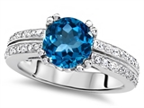 Original Star K™ Round 7mm Genuine Blue Topaz Engagement Wedding Ring style: 307600