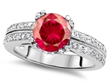 Original Star K Round 7mm Created Ruby Engagement Wedding Ring