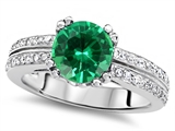 Original Star K™ Round 7mm Simulated Emerald Engagement Wedding Ring
