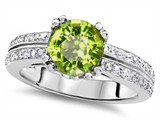 Original Star K™ Round 7mm Genuine Peridot Engagement Wedding Ring