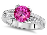 Original Star K™ Round 7mm Created Pink Sapphire Engagement Wedding Ring style: 307608