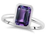 Tommaso Design™ 8x6mm Emerald Octagon Cut Simulated Alexandrite Engagement Solitaire Ring