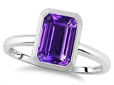 Tommaso Design™ 8x6mm Emerald Octagon Cut Genuine Amethyst Engagement Solitaire Ring