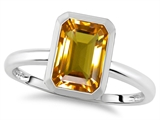 Tommaso Design™ 8x6mm Emerald Octagon Cut Genuine Citrine Engagement Solitaire Ring
