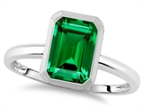 Tommaso Design 8x6mm Emerald Octagon Cut Simulated Emerald Engagement Solitaire Ring