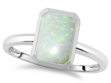 Tommaso Design 8x6mm Emerald Octagon Cut Genuine Opal Engagement Solitaire Ring