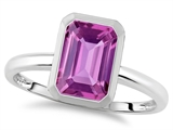 Tommaso Design™ 8x6mm Emerald Octagon Cut Created Pink Sapphire Engagement Solitaire Ring