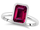 Tommaso Design 8x6mm Emerald Octagon Cut Created Ruby Engagement Solitaire Ring