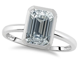 Tommaso Design™ 8x6mm Emerald Octagon Cut Genuine White Topaz Engagement Solitaire Ring