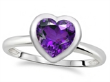 Tommaso Design 7mm Heart Shape Genuine Amethyst Engagement Solitaire Ring
