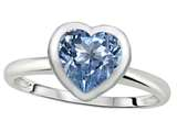 Tommaso Design 7mm Heart Shape Simulated Aquamarine Engagement Solitaire Ring