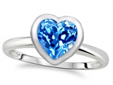 Tommaso Design™ 7mm Heart Shape Genuine Blue Topaz Engagement Solitaire Ring