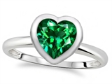 Tommaso Design 7mm Heart Shape Simulated Emerald Engagement Solitaire Ring
