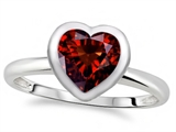 Tommaso Design 7mm Heart Shape Genuine Garnet Engagement Solitaire Ring