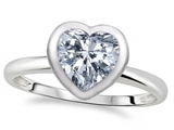 Tommaso Design™ 7mm Heart Shape Genuine White Topaz Engagement Solitaire Ring