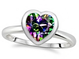 Tommaso Design™ 7mm Heart Shape Rainbow Mystic Topaz Engagement Solitaire Ring