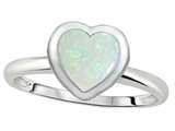 Tommaso Design 7mm Heart Shape Genuine Opal Engagement Solitaire Ring