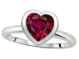 Tommaso Design 7mm Heart Shape Created Ruby Engagement Solitaire Ring