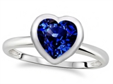 Tommaso Design™ 7mm Heart Shape Created Sapphire Engagement Solitaire Ring