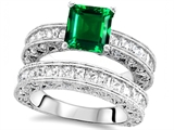 Original Star K 7mm Square Cut Simulated Emerald Engagement Wedding Set