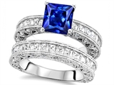 Original Star K 7mm Square Cut Created Sapphire Engagement Wedding Set