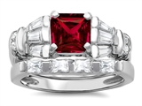 Original Star K 6mm Square Cut Created Ruby Engagement Wedding Set