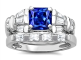 Original Star K 6mm Square Cut Created Sapphire Engagement Wedding Set