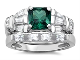 Original Star K™ 6mm Square Cut Simulated Emerald Wedding Set style: 307648