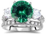 Original Star K Large 10mm Round Simulated Emerald Engagement Wedding Set