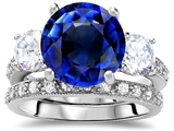 Original Star K Large 10mm Round Created Sapphire Engagement Wedding Set