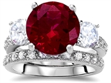 Original Star K Large 10mm Round Created Ruby Engagement Wedding Set
