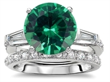 Original Star K™ Large 10mm Round Simulated Emerald Wedding Set style: 307653