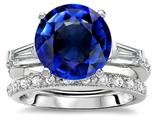Original Star K™ Large 10mm Round Created Sapphire Wedding Set style: 307656