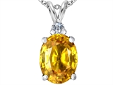 Original Star K Large 14x10mm Oval Simulated Citrine Pendant
