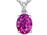Star K™ Large 14x10mm Oval Created Pink Sapphire Pendant Necklace style: 307687