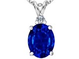 Original Star K Large 14x10mm Oval Created Sapphire Pendant