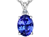 Original Star K Large 14x10mm Oval Simulated Tanzanite Pendant